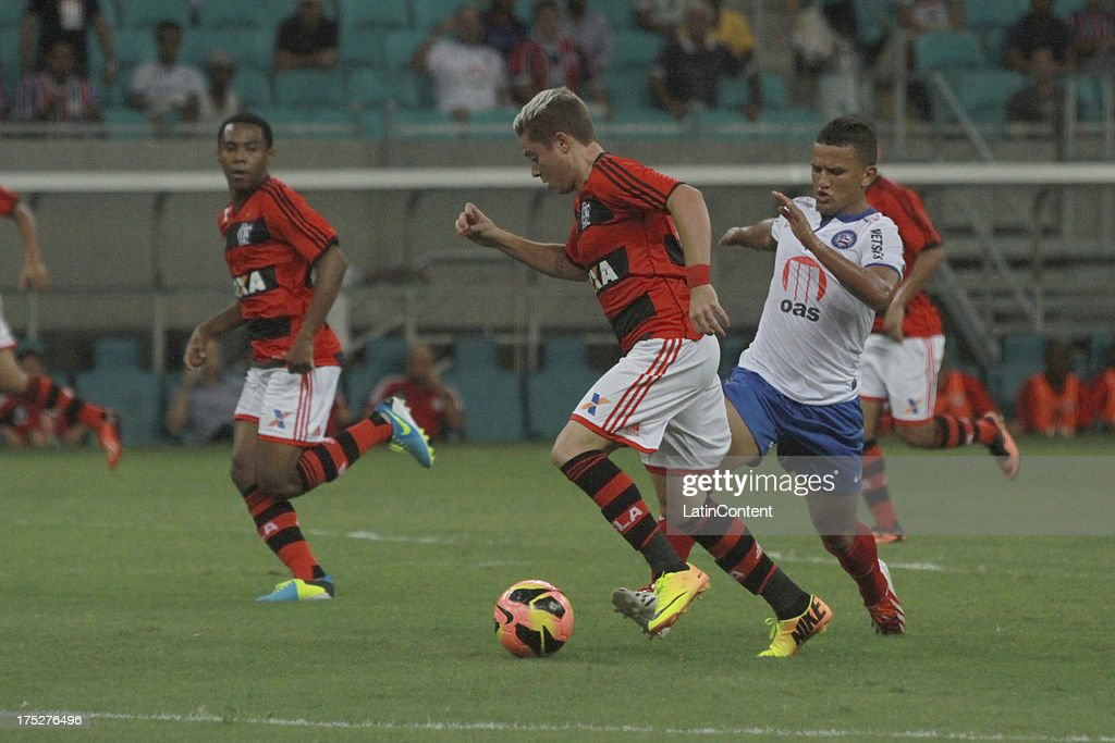Adryan of Flamengo in action during a match between Flamengo and Bahia as part of the Brazilian Serie A Championship at Arena Fonte Nova Stadium on July 31, 2013 in Salvador, Brasil.
