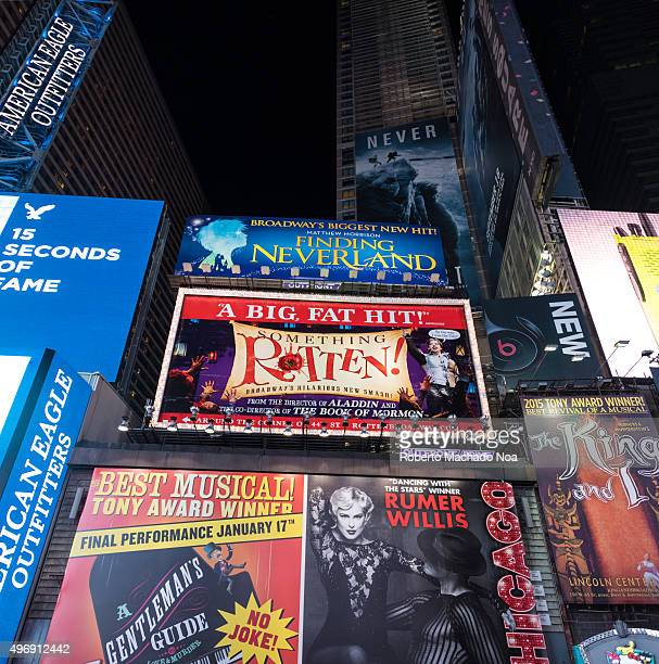 2015 ads in Times Square in New York City night scenesThe tourist landmark is visited by about 50 million tourists every year and is famous for...