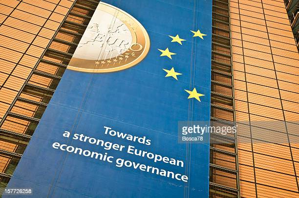 Ads on the facade of Berlaymont building, Brussels