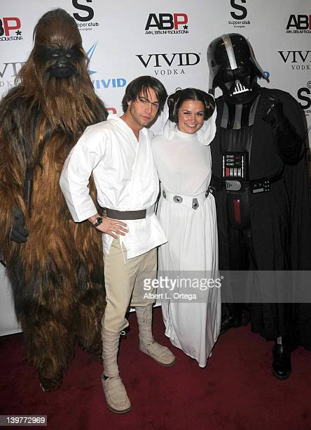 Adult actor Seth Gamble and adult actress Alle Haz arrive for the Premiere Of Vivid Entertainment's 'Star Wars XXX A Porn Parody' held at SupperClub...