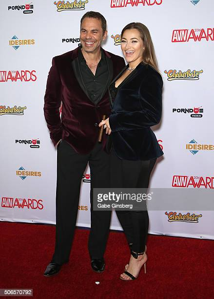 Adult actor/director Steven St Croix and adult film actress Dani Daniels attend the 2016 Adult Video News Awards at the Hard Rock Hotel Casino on...