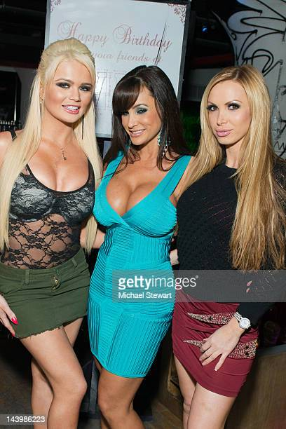 Adult actresses Alexis Ford Lisa Ann and Nikki Benz attend Lisa Ann's Birthday at WIP on May 6 2012 in New York City