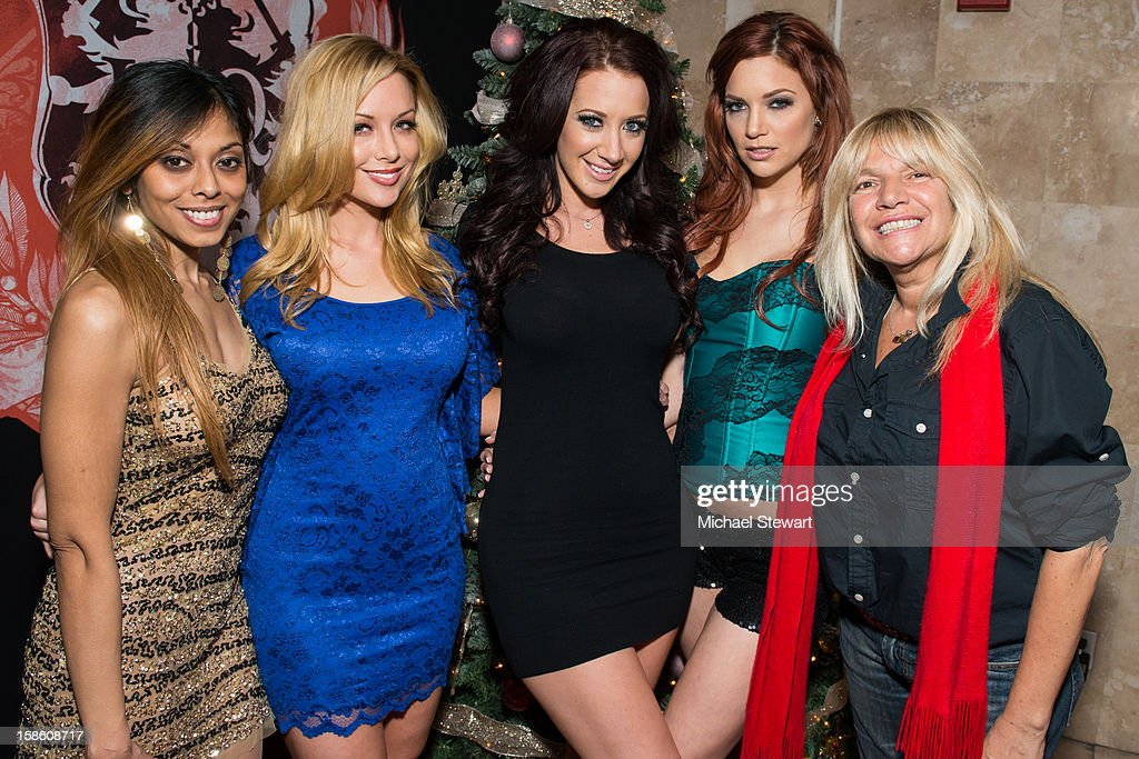 Adult actresses Anju McIntyre, Kayden Kross, Jayden James and Jayden Cole with TV personality Robin Byrd attend the XXXMas Spectacular event at Headquarters on December 20, 2012 in New York City.
