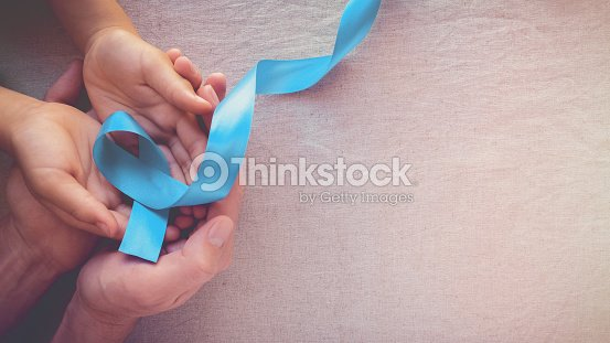 Adult and child hands holding Light blue, sky blue ribbons, toning background, Prostate Cancer Awareness and Adrenocortical carcinoma awareness : Foto de stock