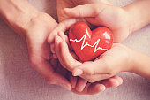 adult and child hands holiding red heart, health care, organ donation, family insurance concept