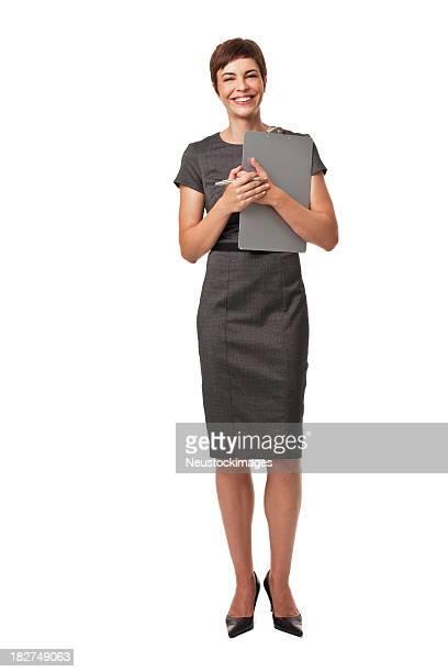 Erwachsener Geschäftsfrau Holding Zwischenablage, isoliert auf weiss