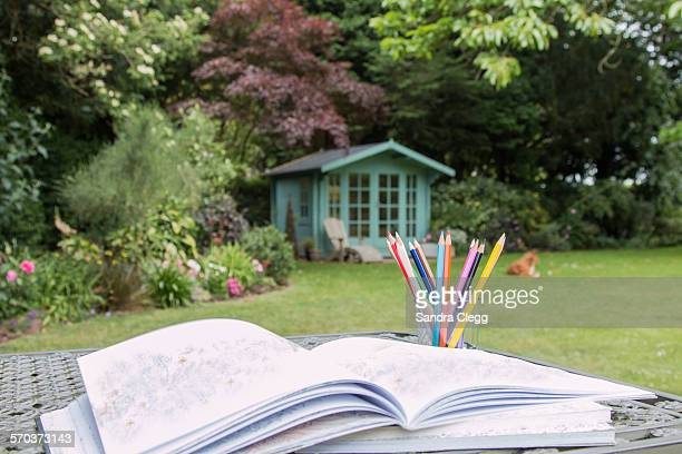 Adult colouring in the garden
