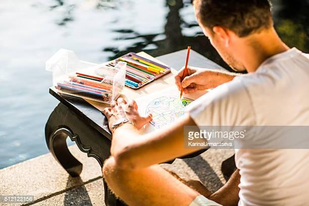 Adult colouring with soft tip pencils, designer, handsome men