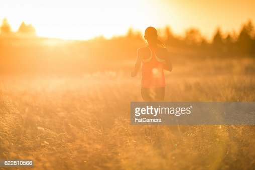tall grass field sunset throughout adult female athlete running through tall grass at sunset stock photo female athlete running through tall grass at sunset