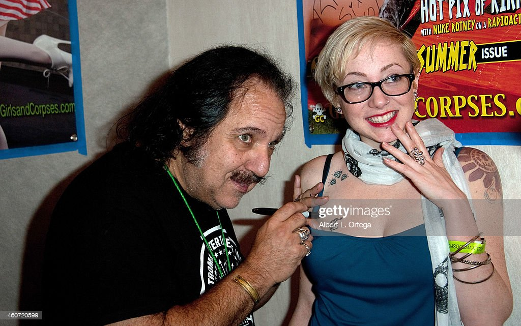 Adult film actor Ron Jeremy and model Gin & Tonic attend The Hollywood Show at Lowes Hollywood Hotel on January 4, 2014 in Hollywood, California.