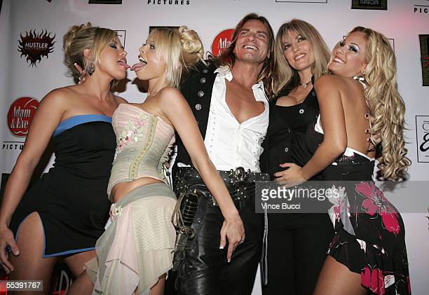 Adult film actors Austyn Moore Jesse Jane Evan Stone Janine and Carmen Luvana attend the Digital Playground Adam and Eve production of the XXX rated...