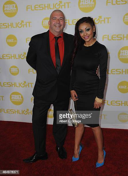 Adult film actors James Bartholet and Priya Rai arrive for the 2014 XBIZ Awards held at The Hyatt Regency Century Plaza Hotel on January 24 2014 in...