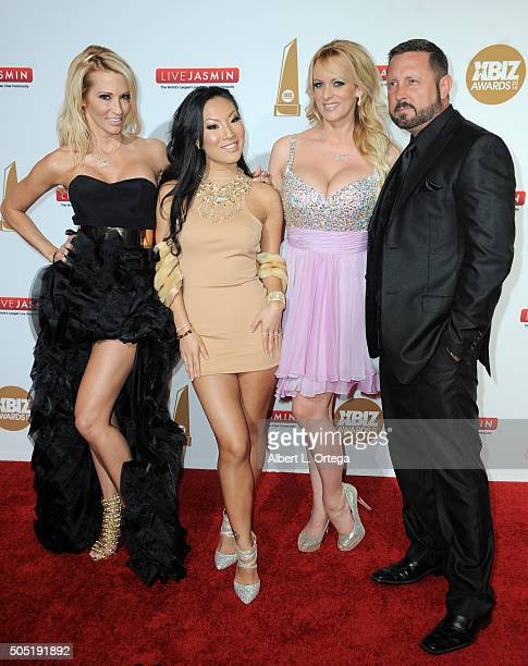 Adult film actors Jessica Drake Asa Akira Stormy Daniels and Brad Armstrong arrive for the 2016 XBIZ Awards held at JW Marriott Los Angeles at LA...
