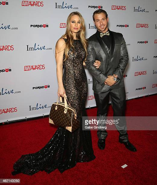 Adult film actors Nicole Aniston and Chad White arrive at the 2015 Adult Video News Awards at the Hard Rock Hotel Casino on January 24 2015 in Las...