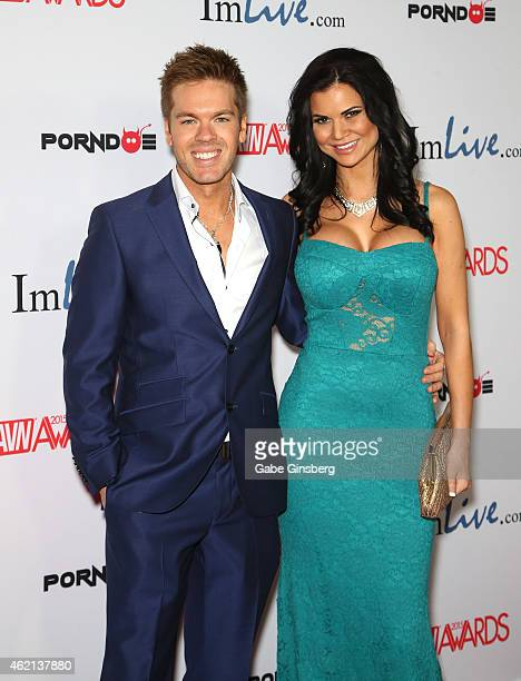Adult film actors Ryan Ryder and Jasmine Jae arrive at the 2015 Adult Video News Awards at the Hard Rock Hotel Casino on January 24 2015 in Las Vegas...