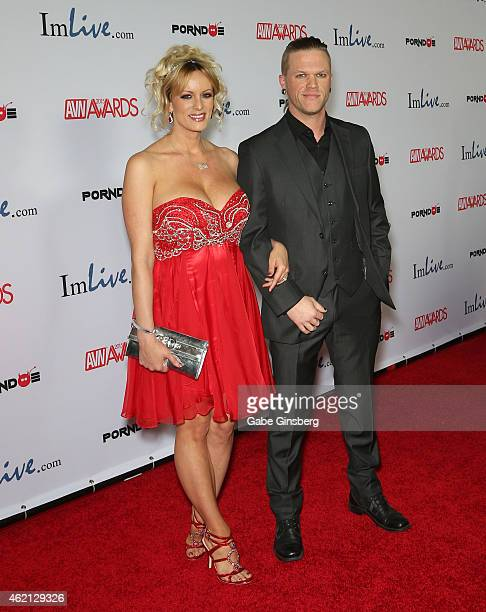 Adult film actors Stormy Daniels and Brendon Miller arrive at the 2015 Adult Video News Awards at the Hard Rock Hotel Casino on January 24 2015 in...