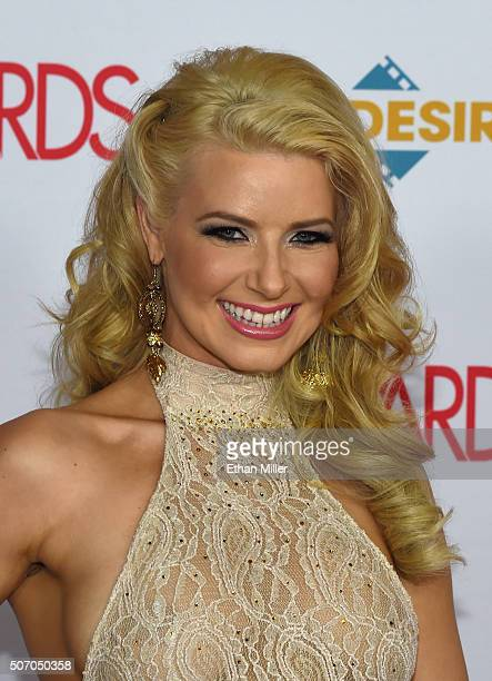 Adult film actress and cohost Anikka Albrite attends the 2016 Adult Video News Awards at the Hard Rock Hotel Casino on January 23 2016 in Las Vegas...