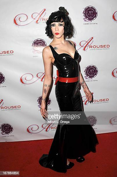 Adult film actress Asphyxia Noir arrives for the Premiere Of 'Aroused' held at Landmark Nuart Theatre on May 1 2013 in Los Angeles California