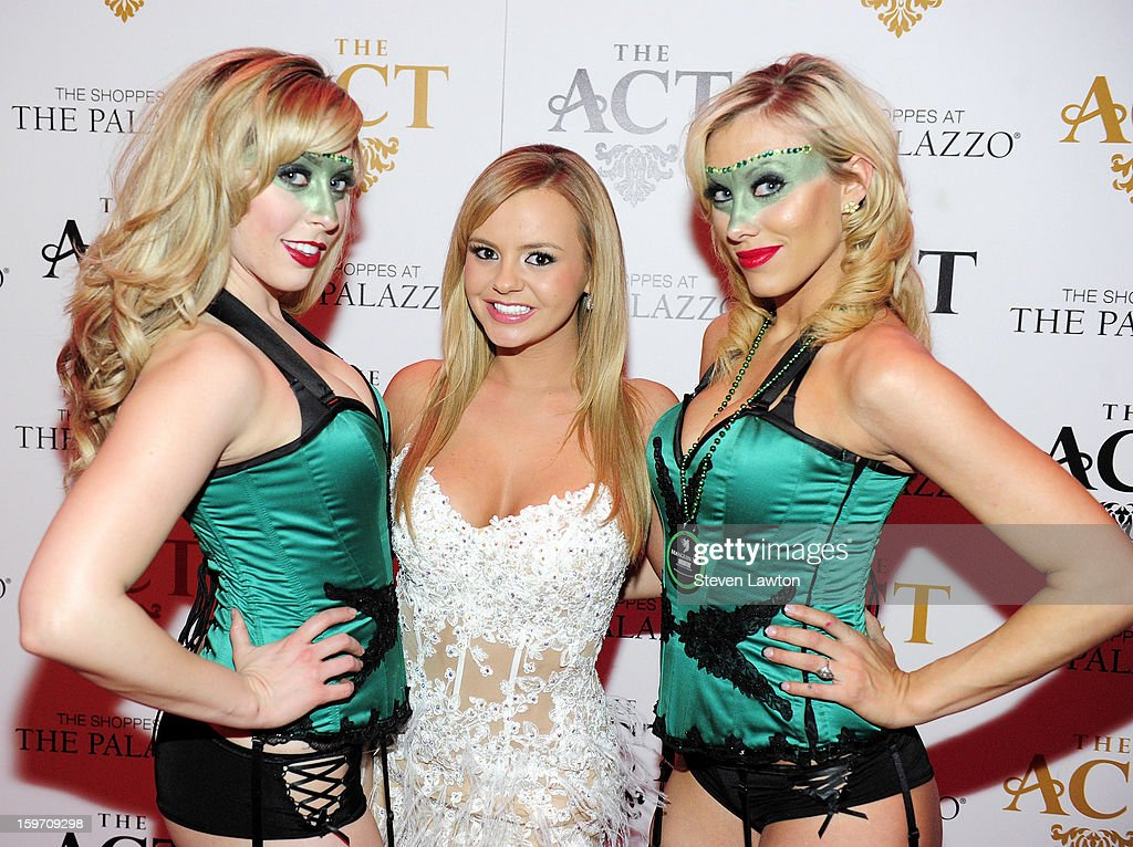 Adult film actress Bree Olson and the absinthe girls arrive for a night at The Act Nightclub at The Palazzo on January 18 2013 in Las Vegas Nevada