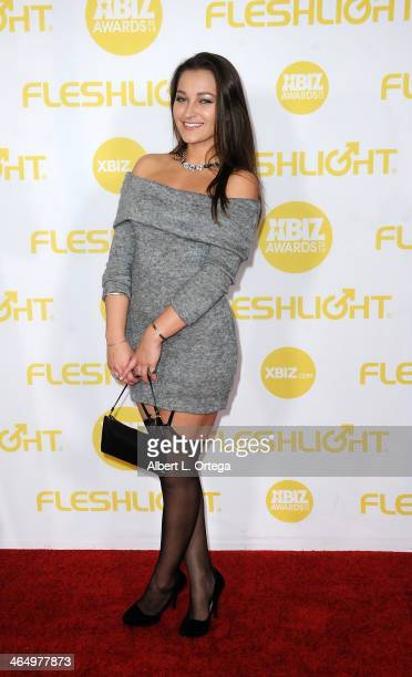 Adult film actress Dani Daniels arrives for the 2014 XBIZ Awards held at The Hyatt Regency Century Plaza Hotel on January 24 2014 in Century City...