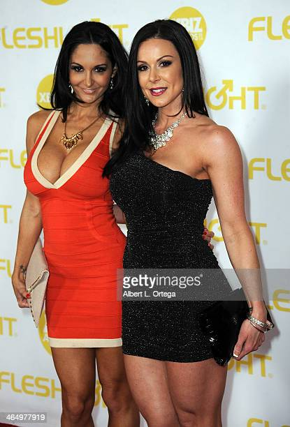 Adult film actress Jada Adams and Kendra Lust arrive for the 2014 XBIZ Awards held at The Hyatt Regency Century Plaza Hotel on January 24 2014 in...