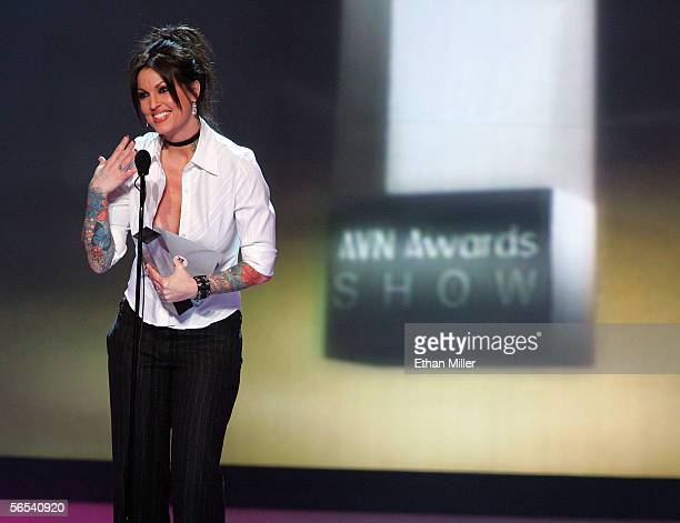 Adult film actress Janine Lindemulder accepts one of her awards at the Adult Video News Awards Show at the Venetian Resort Hotel and Casino January 7...