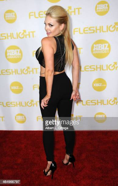Adult film actress Jesse Jane arrives for the 2014 XBIZ Awards held at The Hyatt Regency Century Plaza Hotel on January 24 2014 in Century City...