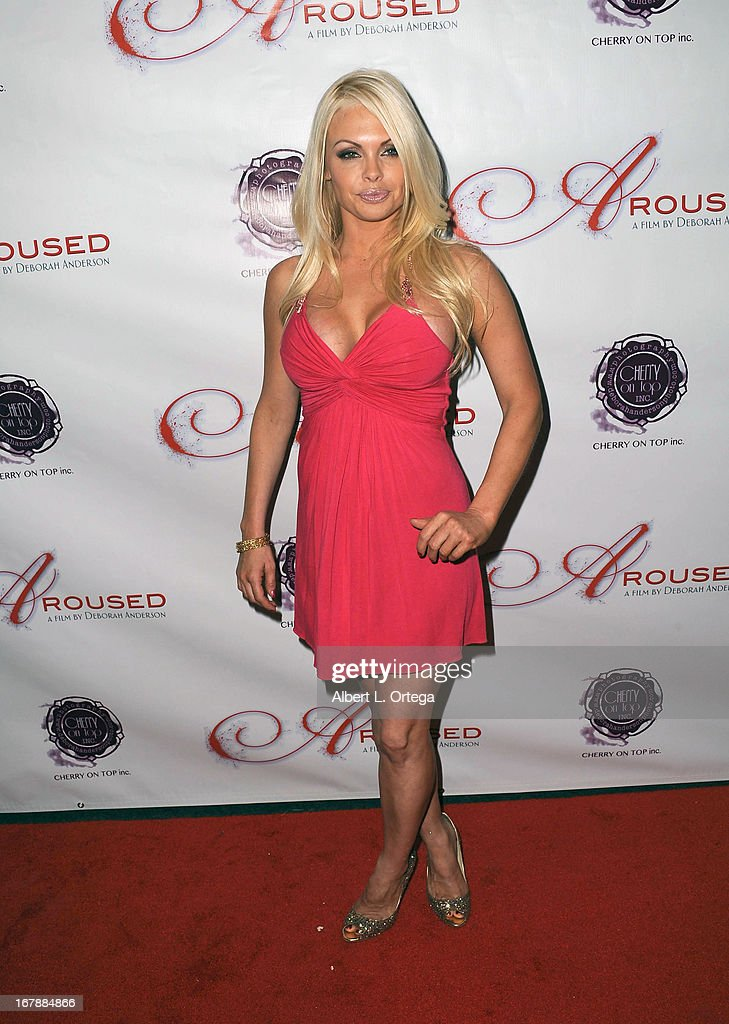 Adult film actress Jesse Jane arrives for the Premiere Of 'Aroused' held at Landmark Nuart Theatre on May 1, 2013 in Los Angeles, California.