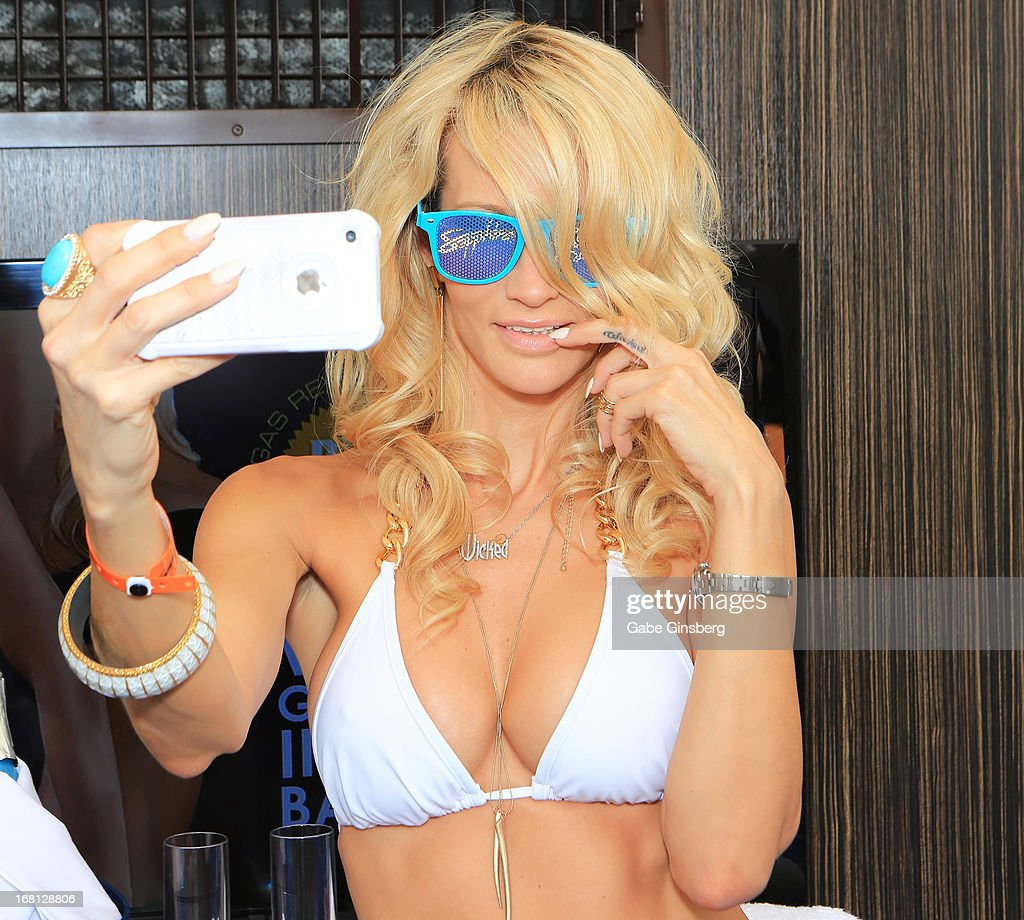 Adult film actress Jessica Drake takes a self portrait at the Sapphire Pool & Day Club grand opening party on May 5, 2013 in Las Vegas, Nevada.