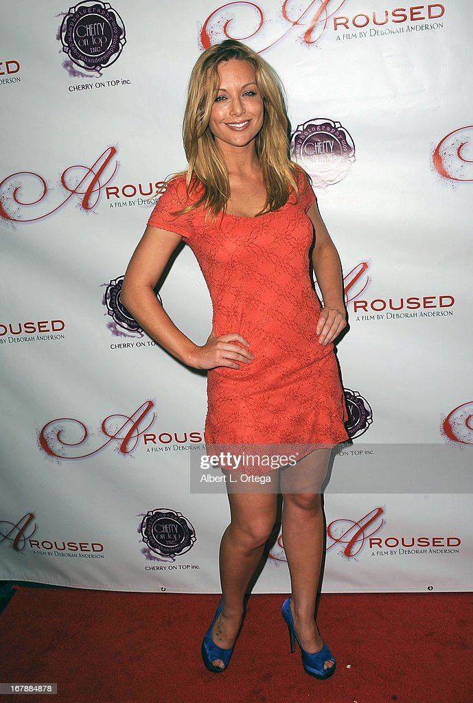 Adult film actress Kayden Kross arrives for the Premiere Of 'Aroused' held at Landmark Nuart Theatre on May 1, 2013 in Los Angeles, California.