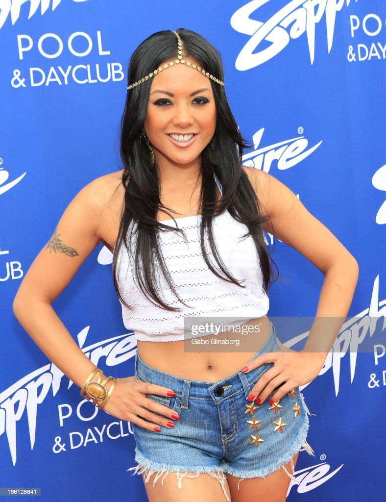 Adult film actress Kaylani Lei poses at the Sapphire Pool & Day Club grand opening party on May 5, 2013 in Las Vegas, Nevada.