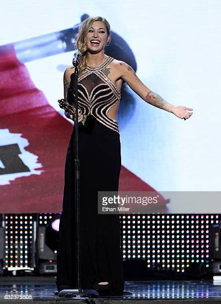 Adult film actress Kleio Valentien accepts the award for Best Actress during the 2017 Adult Video News Awards at The Joint inside the Hard Rock Hotel...