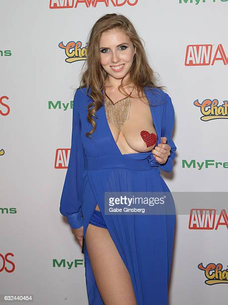 Adult film actress Lena Paul flashes her breast as she attends the 2017 Adult Video News Awards at the Hard Rock Hotel Casino on January 21 2017 in...