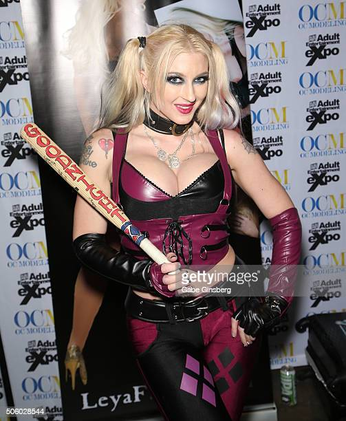 Adult film actress Leya Falcon dressed as the character Harley Quinn from the 'Suicide Squad' movie franchise attends the 2016 AVN Adult...