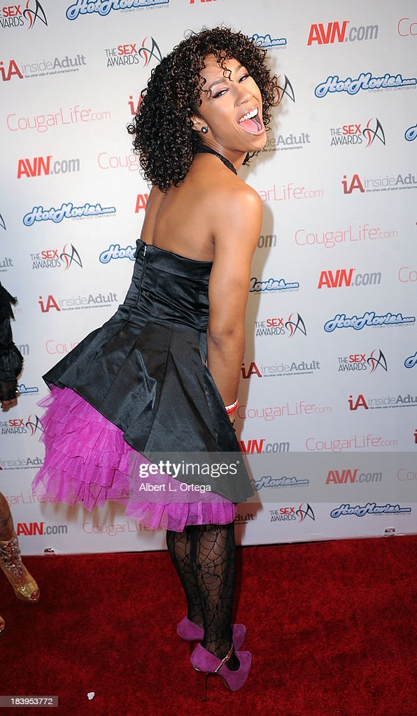 Adult film actress Misty Stone arrives for The 1st Annual Sex Awards 2013 held at Avalon on October 9, 2013 in Hollywood, California.