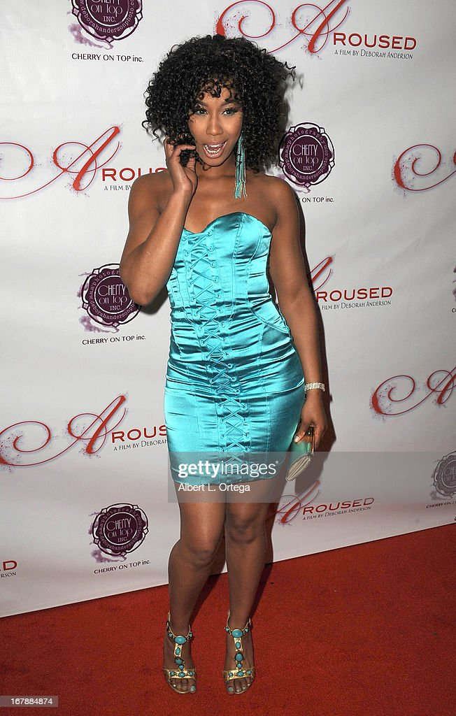 Adult film actress Misty Stone arrives for the Premiere Of 'Aroused' held at Landmark Nuart Theatre on May 1, 2013 in Los Angeles, California.