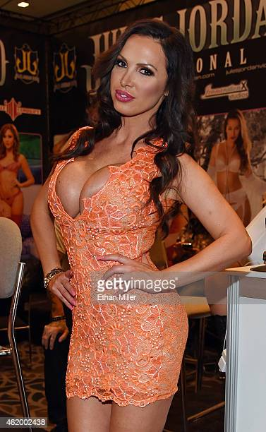 Adult film actress Nikki Benz poses at the Jules Jordan Video booth at the 2015 AVN Adult Entertainment Expo at the Hard Rock Hotel Casino on January...
