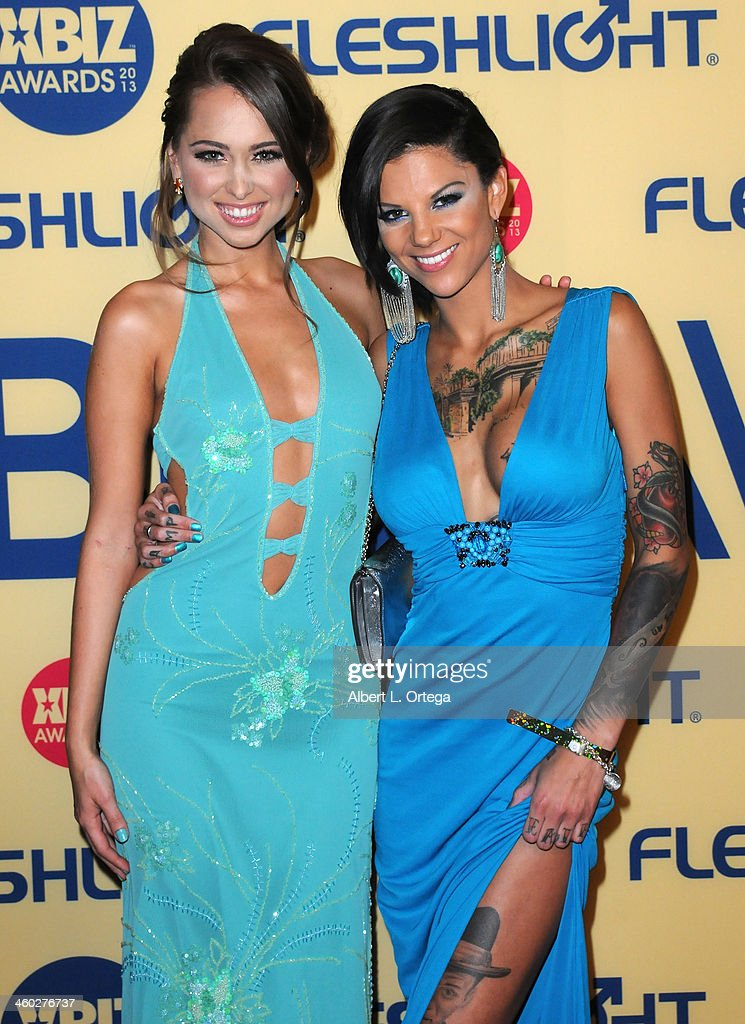 Adult Film actress Riley Reid and adult film actress Bonnie Rotten arrive for the 2013 XBIZ Awards held at the Hyatt Regency Century Plaza on January 11, 2013 in Century City, California.