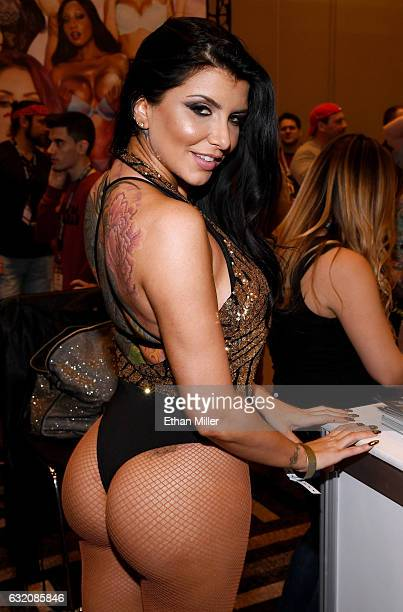 Adult film actress Romi Rain appears at the Brazzers booth at the 2017 AVN Adult Entertainment Expo at the Hard Rock Hotel Casino on January 18 2017...