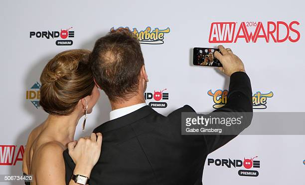 Adult film actress Rosa Caracciolo and her husband adult film actor/director Rocco Siffredi take a selfie as they attend the 2016 Adult Video News...