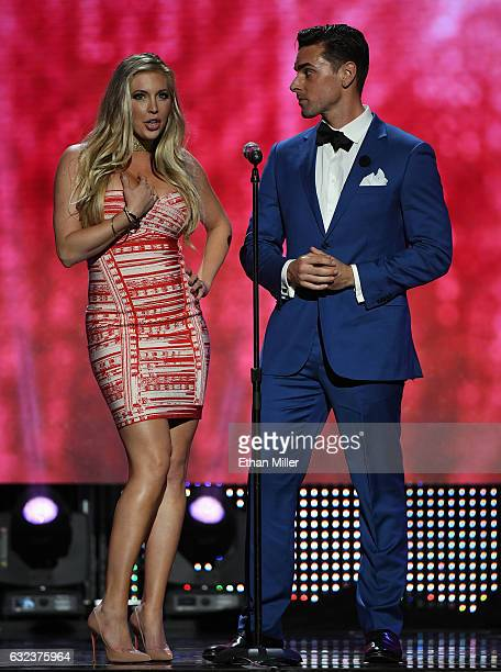 Adult film actress Samantha Saint and adult film actor Ryan Driller present an award during the 2017 Adult Video News Awards at The Joint inside the...