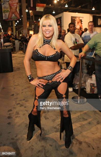 Adult film actress Sunset Thomas attends day 2 of the 2009 AVN Adult Entertainment Expo at the Sand Expo Convention Center on January 10 2009 in Las...