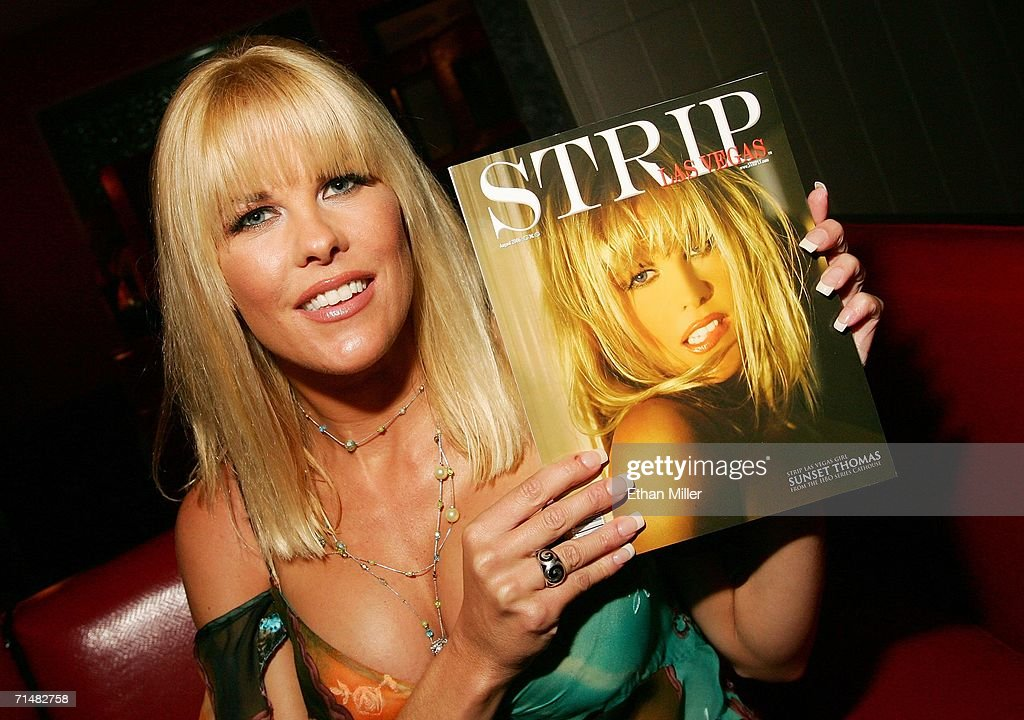 Adult film actress Sunset Thomas holds a copy of her cover issue of Strip Las Vegas magazine while hosting a party for the release of the publication at the Palms Casino Resort July 18, 2006 in Las Vegas, Nevada. Thomas, who stars in the HBO series 'Cathouse,' will open Diamond Jack & Sunset Thomas' Gentlemen's Club in Reno, Nevada next month, and is launching a clothing line called Sunset Wear.