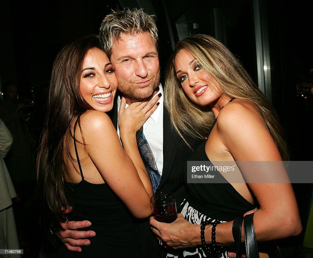 Adult film actress Tiffany Taylor, Strip Las Vegas magazine publisher and Editor-in-Chief Scott Santos and Penthouse Pet Melissa Jacobs, pose during a release party for the new issue of the publication at the Palms Casino Resort July 18, 2006 in Las Vegas, Nevada.