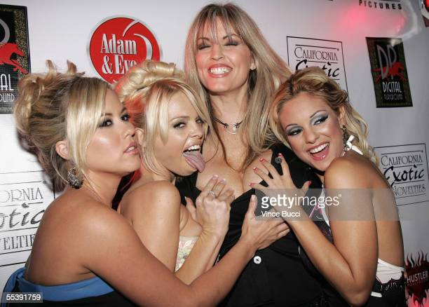 Adult film actresses Austyn Moore Jesse Jane Janine and Carmen Luvana attend the Digital Playground Adam and Eve production of the XXX rated film...