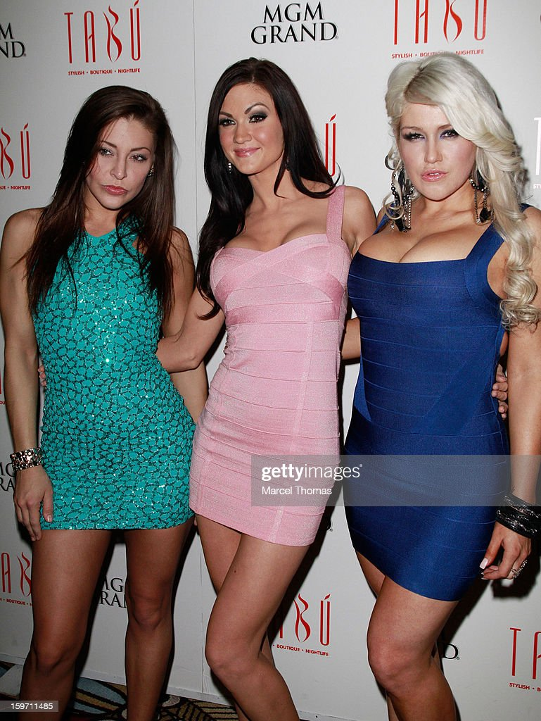 Adult film actresses (L-R) Gracie Glam, Kendall Karson and Nikki Phoenix host a pre-AVN Awards party at Tabu inside the MGM Grand on January 18, 2013 in Las Vegas, Nevada.