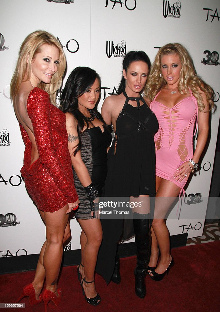 Adult film actresses (L-R) Jessica Drake, Kaylani Lei, Alektra Blue and Samantha Saint attend the official AVN Awards pre-party at the Tao Nightclub at The Venetian on January 17, 2013 in Las Vegas, Nevada.