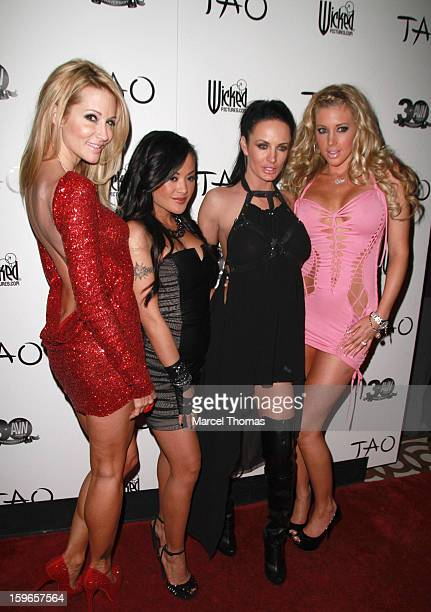 Adult film actresses Jessica Drake Kaylani Lei Alektra Blue and Samantha Saint attend the official AVN Awards preparty at the Tao Nightclub at The...