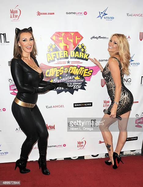 Adult film actresses Tanya Tate and Jessica Drake at FSC After Dark 'Capes Panties' A Superhero Costume Lingerie Auction and Silent Auction to...