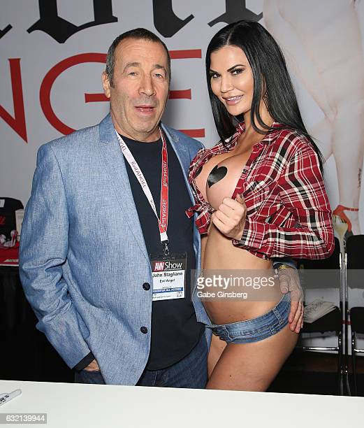 Adult film producer/director John Stagliano and adult film actress Jasmine Jae appear at the Evil Angel booth during the 2017 AVN Adult Entertainment...